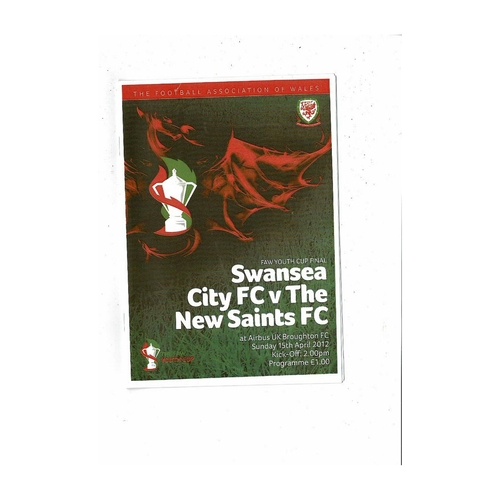 2012 Swansea v The New Saints Welsh Youth Cup Final Football Programme