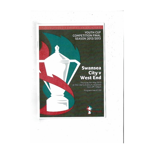 2013 Swansea v West End Welsh Youth Cup Final Football Programme