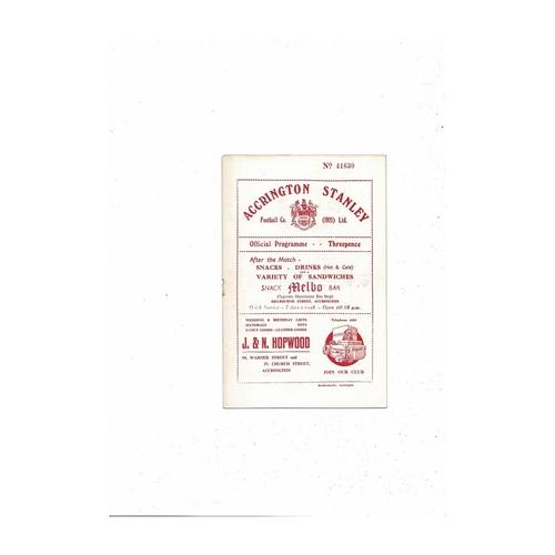 1954/55 Accrington Stanley v Chester City Football Programme