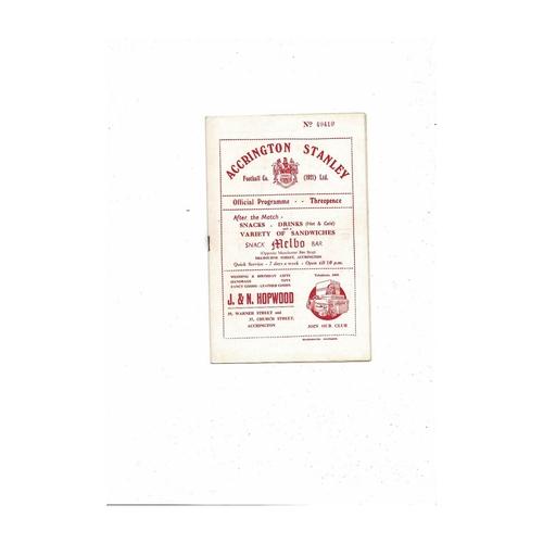 1954/55 Accrington Stanley v Scunthorpe United Football Programme