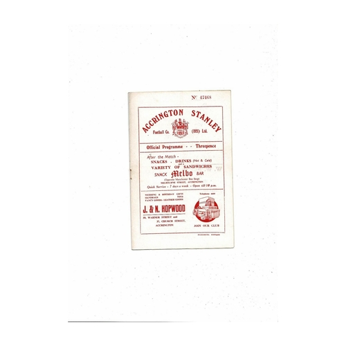1954/55 Accrington Stanley v Tranmere Rovers Football Programme