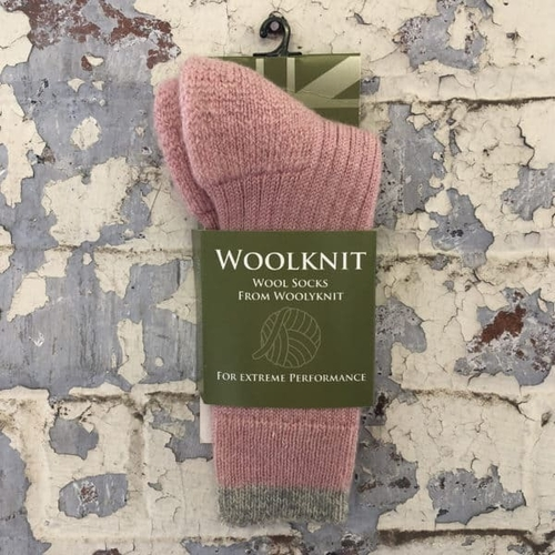 Woolyknit Wool Socks - Rose Pink/Morning Frost Tip