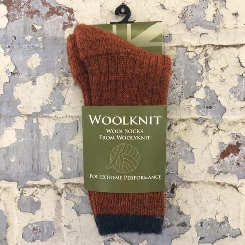 Woolyknit Wool Socks - Burnt Orange/Mallard Tip
