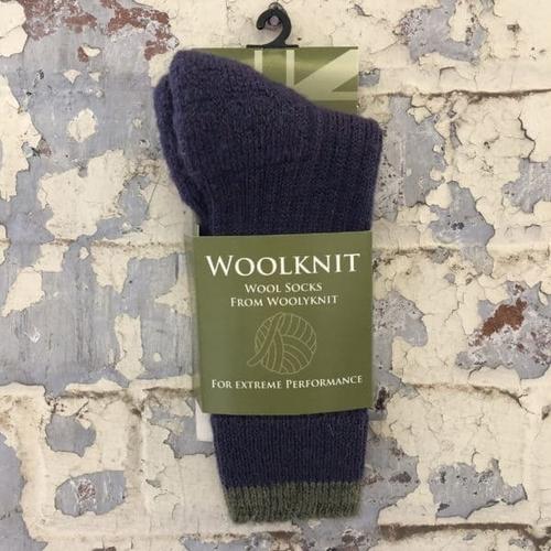 Woolyknit Wool Socks - Heather/Dark Apple Tip