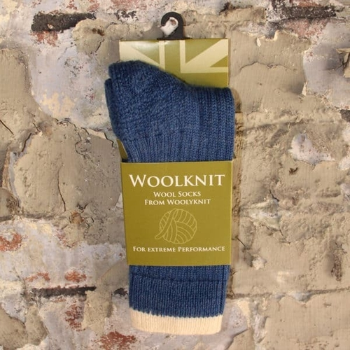 Woolyknit Wool Socks - Indigo/Aran Tip