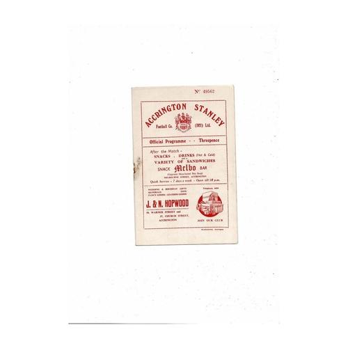 1954/55 Accrington Stanley v Darlington Football Programme