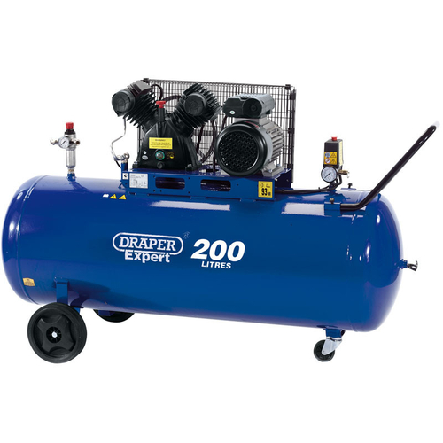 200L V-Twin Belt-Driven Air Compressor (2.2kW) - Draper - 34383