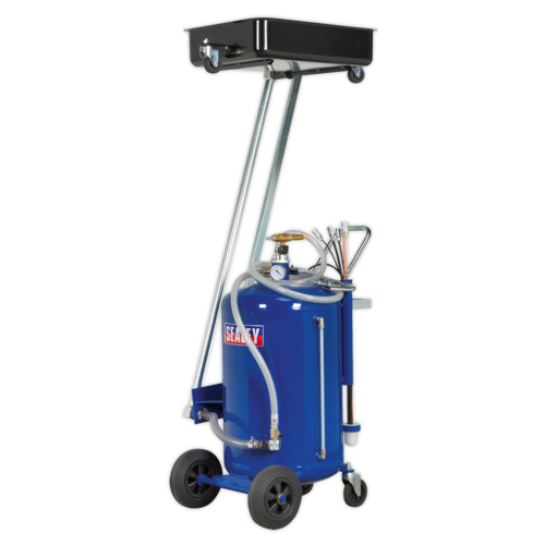 Mobile Oil Drainer with Probes 100ltr Cantilever Air Discharg - Sealey - AK462DX
