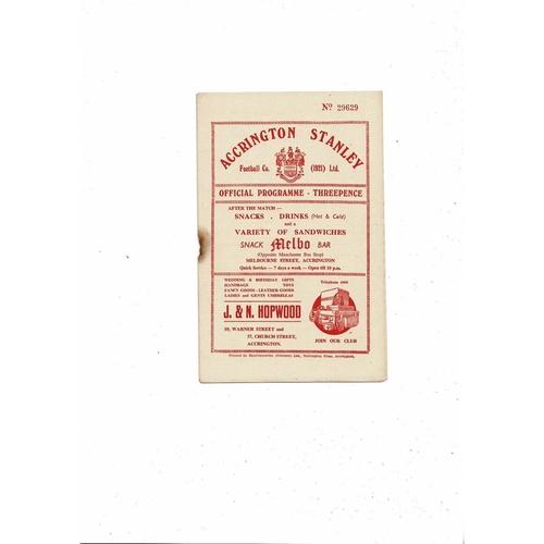 1955/56 Accrington Stanley v Bradford City Football Programme