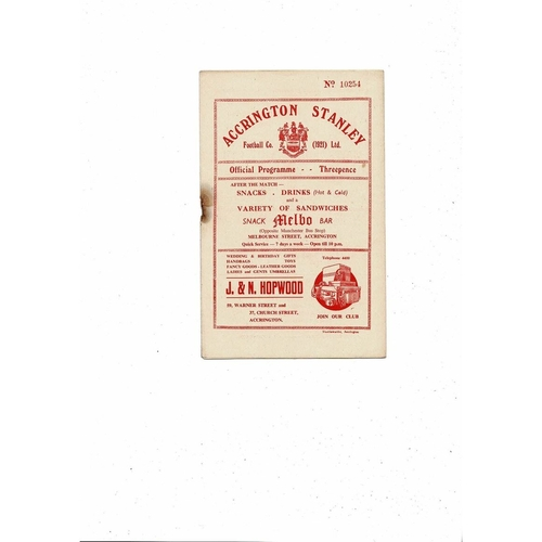 1955/56 Accrington Stanley v Bradford Park Avenue Football Programme