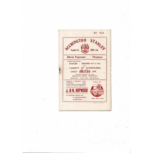 1955/56 Accrington Stanley v Barrow Football Programme