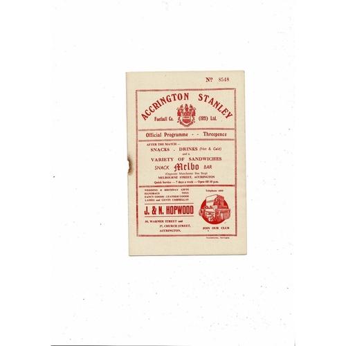 1955/56 Accrington Stanley v Chesterfield Football Programme