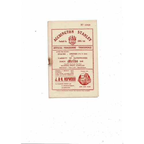 1955/56 Accrington Stanley v Crewe Alexandra Football Programme