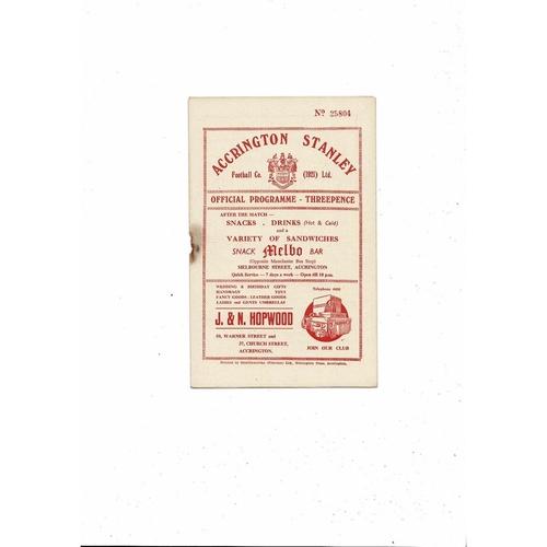 1955/56 Accrington Stanley v Chester Football Programme