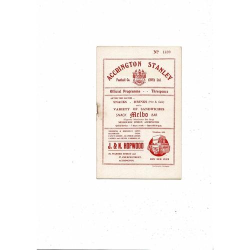 1955/56 Accrington Stanley v Gateshead Football Programme