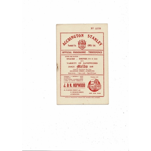 1955/56 Accrington Stanley v Mansfield Town Football Programme
