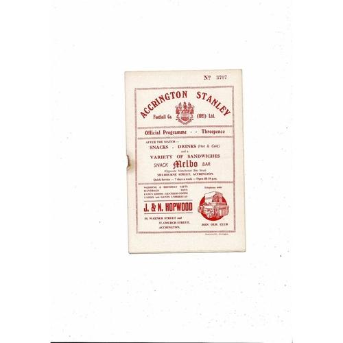 1955/56 Accrington Stanley v Rochdale Football Programme