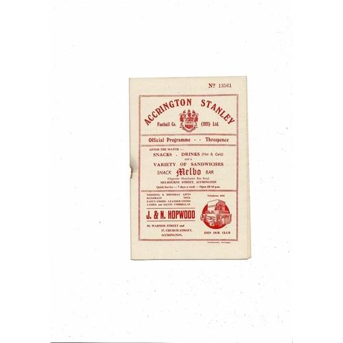 1955/56 Accrington Stanley v Scunthorpe United Football Programme