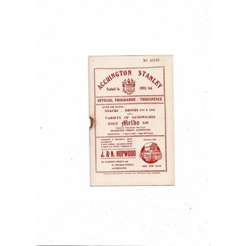 1955/56 Accrington Stanley v Southport Football Programme
