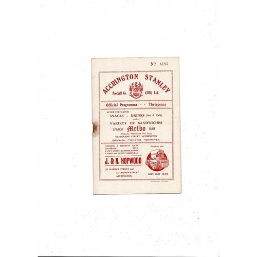 1955/56 Accrington Stanley v Stockport County Football Programme