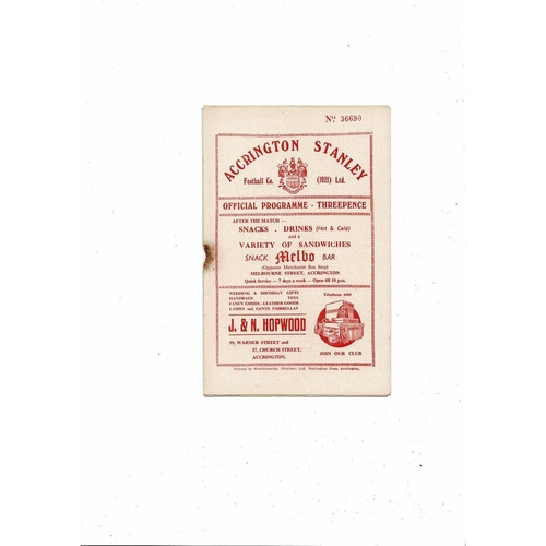 1955/56 Accrington Stanley v Tranmere Rovers Football Programme