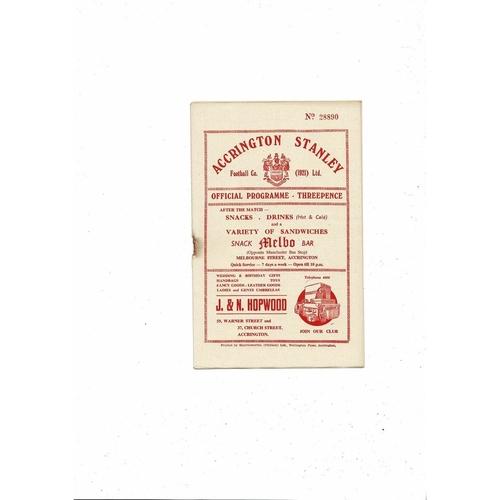1955/56 Accrington Stanley v Wrexham Football Programme