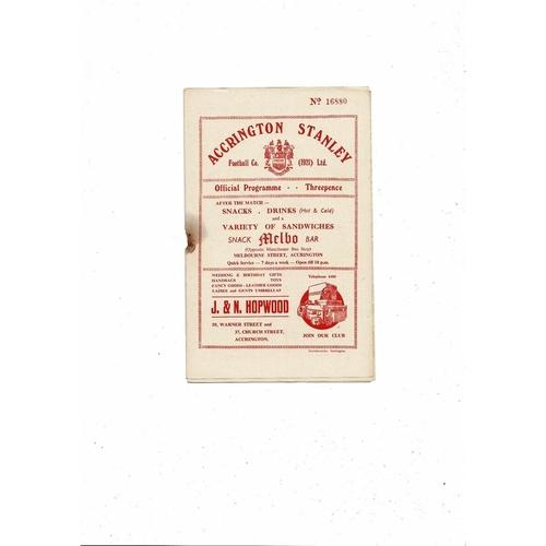 1955/56 Accrington Stanley v Workington Football Programme