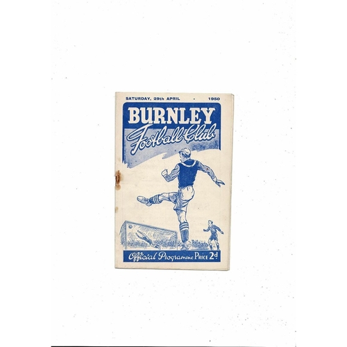 1949/50 Burnley v Middlesbrough Football Programme