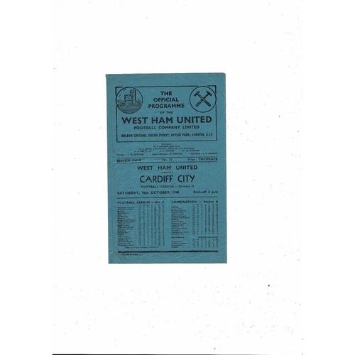 1948/49 West Ham United v Cardiff City Football Programme