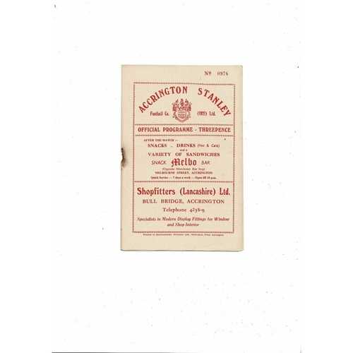 1956/57 Accrington Stanley v York City Football Programme