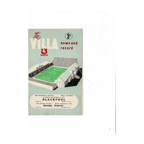 1956/57 Aston Villa v Blackpool & Barnsley Reserves Football Programme