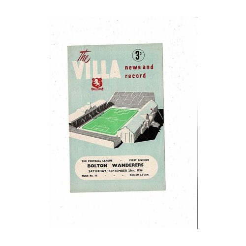 1956/57 Aston Villa v Bolton Wanderers Football Programme