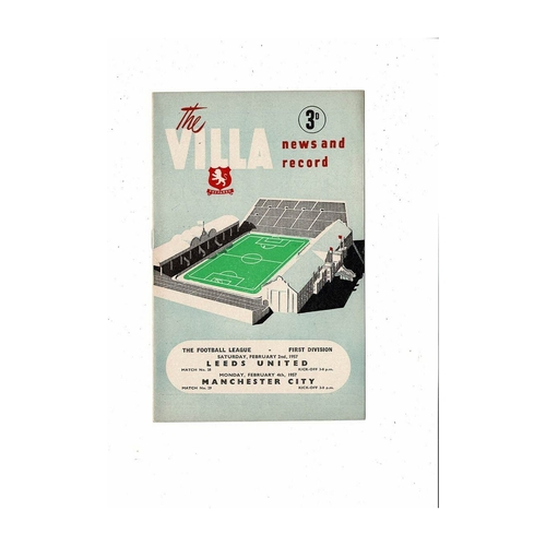 1956/57 Aston Villa v Leeds United & Manchester City Double Football Programme