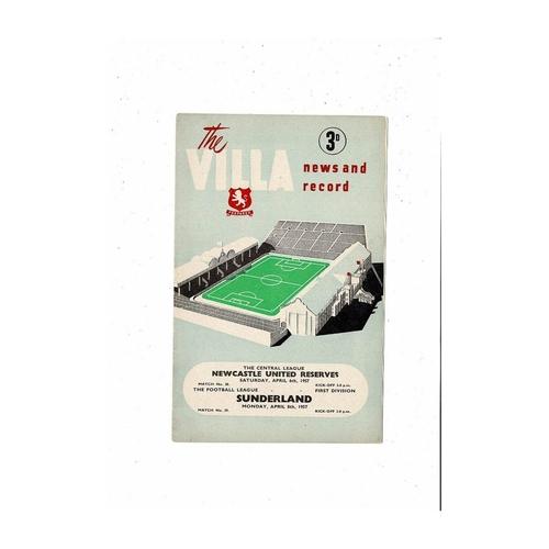 1956/57 Aston Villa v Sunderland Football Programme April