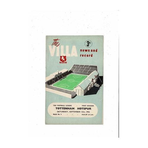 1956/57 Aston Villa v Tottenham Hotspur Football Programme
