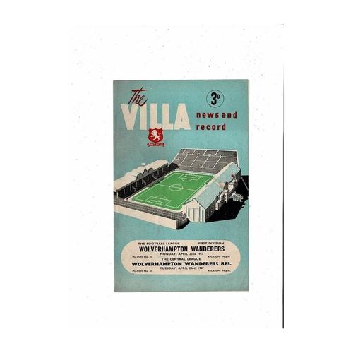 1956/57 Aston Villa v Wolves Football Programme