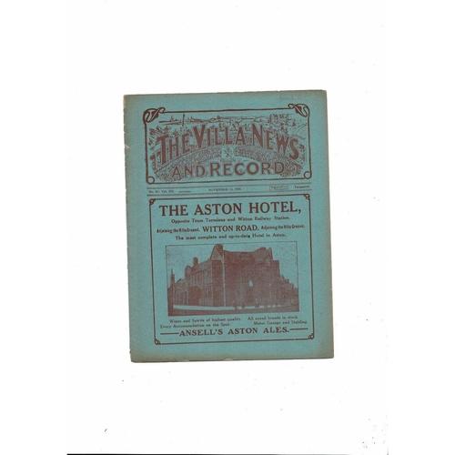1921/22 Aston Villa v Bradford City Football Programme