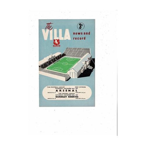 1957/58 Aston Villa v Arsenal Football Programme