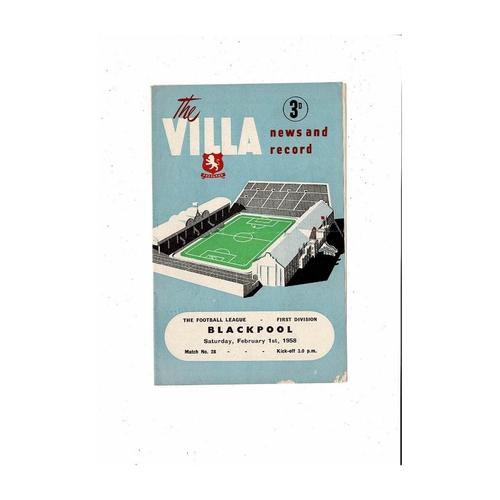 1957/58 Aston Villa v Blackpool Football Programme