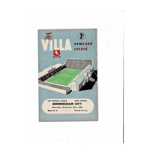 1957/58 Aston Villa v Birmingham City Football Programme