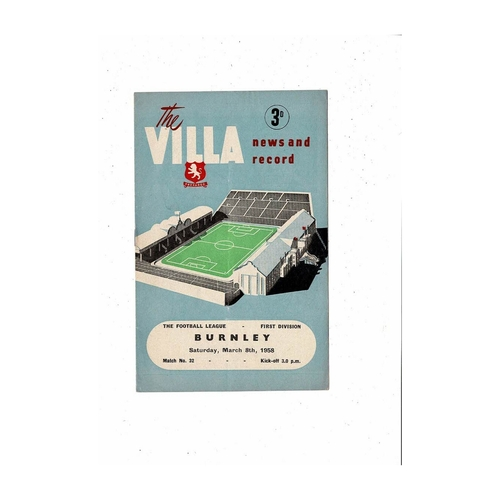 1957/58 Aston Villa v Burnley Football Programme
