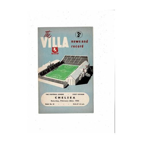 1957/58 Aston Villa v Chelsea Football Programme