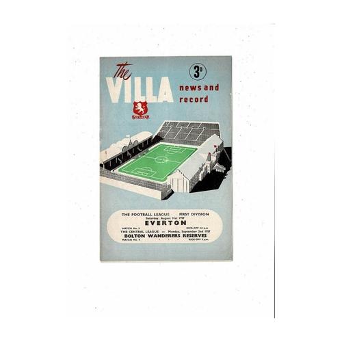1957/58 Aston Villa v Everton Football Programme