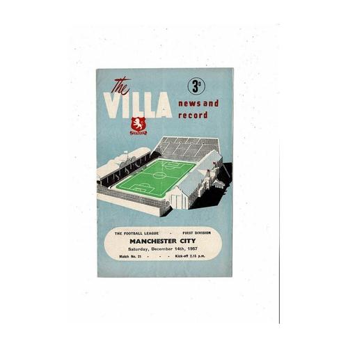1957/58 Aston Villa v Manchester City Football Programme