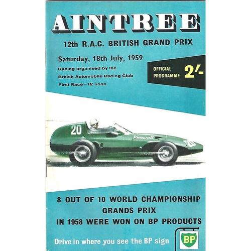 1959 British Grand Prix Programme