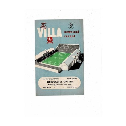 1957/58 Aston Villa v Newcastle United Football Programme