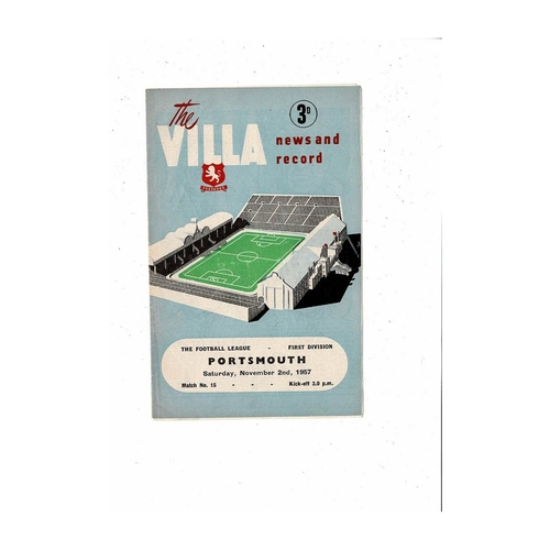 1957/58 Aston Villa v Portsmouth Football Programme