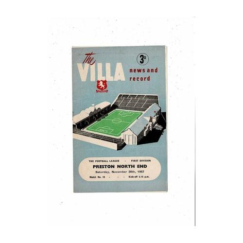 1957/58 Aston Villa v Preston Football Programme