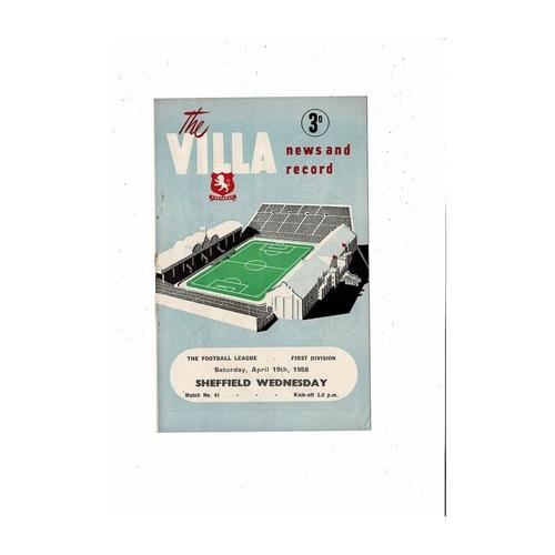 1957/58 Aston Villa v Sheffield Wednesday Football Programme