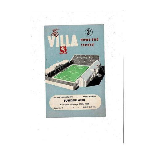1957/58 Aston Villa v Sunderland Football Programme